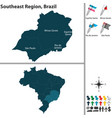 southeast region of brazil vector image vector image