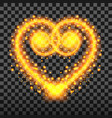special light effect of the heart with golden vector image vector image