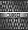 steel long plate closed on perforated background vector image vector image