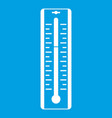 thermometer with degrees icon white vector image vector image