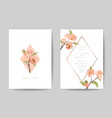 wedding invitation card set with pink cherry vector image