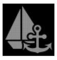 white halftone marine icon vector image