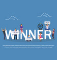 winner concept set with winning combinations flat vector image vector image
