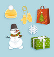 winter christmas symbols flat set vector image