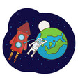with an astronaut rocket moon vector image vector image