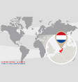 world map with magnified netherlands vector image vector image
