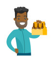 young african-american man with pack of beer