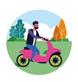 young man going for a ride icon vector image vector image
