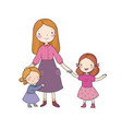 young mother and two daughters cute cartoon vector image
