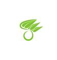 O letter organic green logo leaf eco icon concept vector image