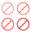 Set of red prohibition signs on white background vector image