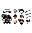 a set of elements for creating pirated logos hats vector image