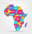 africa regions map with single african countries vector image vector image