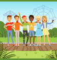 big friendly group of multiracial teenagers vector image
