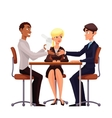 Business discussion at the table of employees vector image