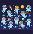 cartoon space cosmonaut animals cute animal vector image vector image