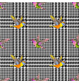 check fashion seamless pattern with embroidery vector image