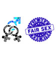 collage double mistress icon with grunge fair sex vector image vector image