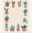 collection of hand drawn plants in a pot vector image vector image