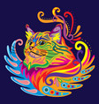 colorful zentangle cat 5 vector image