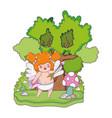 cute cupid chubby girl with arrow vector image