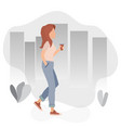cute girl walking with a coffee glass in her hand vector image
