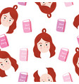 cute seamless pattern pretty girl and book vector image vector image
