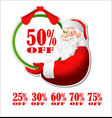 Discount sticker with Santa Claus vector image vector image