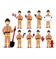 firefighter in professional uniform vector image vector image