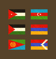 Flags of Jordan Azerbaijan Palestine Armenia vector image vector image