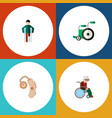 flat icon handicapped set of equipment injured vector image vector image