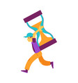 flat man holding hourglass running smiling vector image vector image