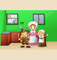 happy children and mom in the kitchen vector image
