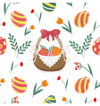 Happy Easter Seamless Pattern with Easter Eggs vector image vector image