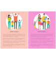 happy family spend time together posters with text vector image vector image
