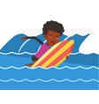 happy surfer in action on a surf board vector image vector image