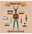 Hipster style character concept cartoon style vector image