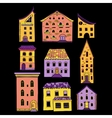 Houses Set Doodle Color vector image vector image