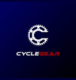 initial letter c wheel gear sprocket cogs chain vector image