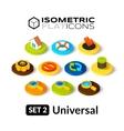 Isometric flat icons set 2 vector image vector image