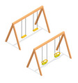 isometric swings for kids and toddlers vector image vector image
