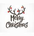 merry christmas card hand drawn lettering vector image