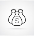 money bag flat line black icon eps10 vector image vector image