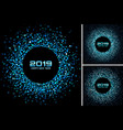 new year 2019 card blue backgrounds set vector image vector image