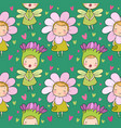 pattern with cute cartoon flower fairies forest vector image vector image
