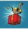 Red gift box with Golden ribbons vector image vector image