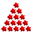 red star composition 3d stars in triangular form vector image vector image