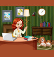 scene with woman working on computer at home vector image