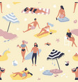 seamless pattern with people relaxing on sand vector image vector image