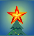 shining christmas star in blue night sky vector image